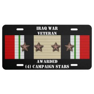 4 CAMPAIGN STARS IRAQ WAR VETERAN LICENSE PLATE