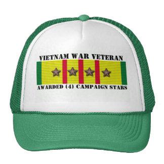 4 CAMPAIGN STARS VIETNAM WAR VETERAN TRUCKER HATS