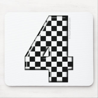 4 checkered auto racing number mouse pad