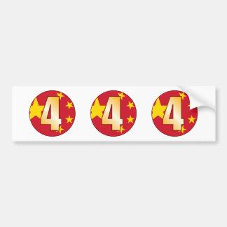 4 CHINA Gold Bumper Sticker