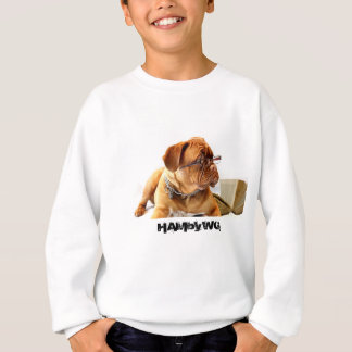 4 Colors - Bulldog - HAM Striped Sleeve V-Neck T Sweatshirt