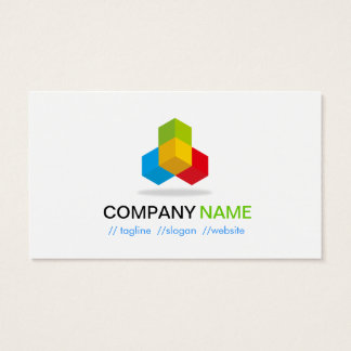 4 Colors Green Blue Yellow Red - Modern Cube Logo Business Card