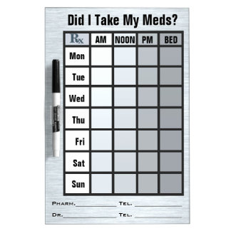 4 Column Medication Check List - Personalised Dry-Erase Board