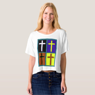 4 Cross Design Women's Boxy Shirt