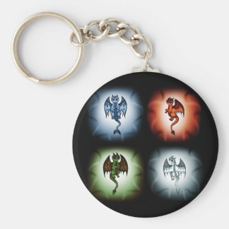 4 Element Dragons Basic Round Button Key Ring