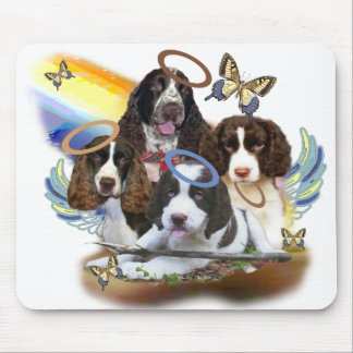 4 English Springers against rainbow Mouse Pad