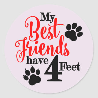 4 Feet Best Friends Round Sticker