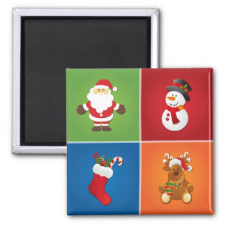 4-in-1 Christmas Santa Claus Stocking Snowman Deer Square Magnet