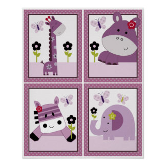 4 in 1 Set Hopscotch Jungle 8x10 inch Posters