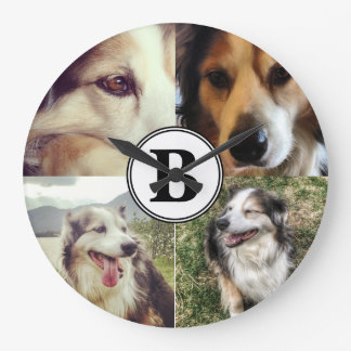 4 Instagram Photos and Monogram Personalized Large Clock