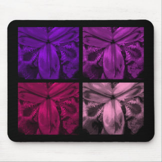 4 Irises: Quad Panel of Blooms 6 Gems Mouse Pad