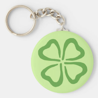 4-Leaf Clover Basic Round Button Key Ring