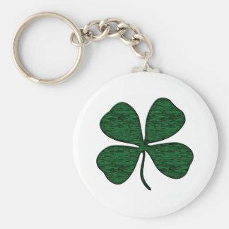 4 leaf clover basic round button key ring