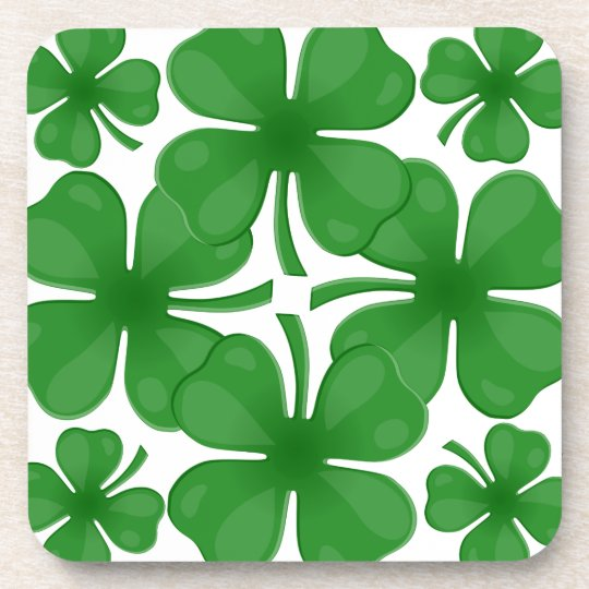4 leaf clover beverage coasters
