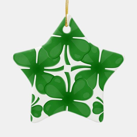 4 leaf clover ceramic star decoration