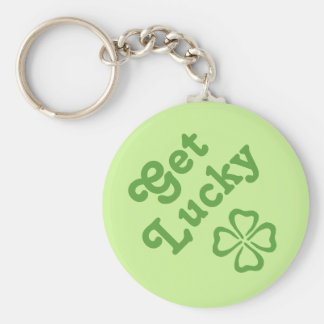 4 Leaf Clover Get Luck Basic Round Button Key Ring