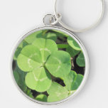 4 Leaf Clover Good Luck Charm Silver-Colored Round Key Ring