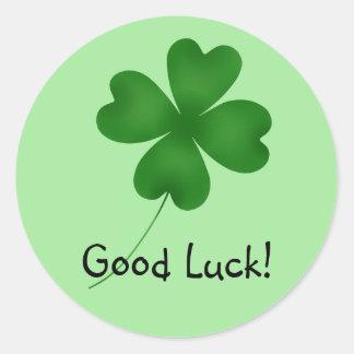 4 leaf clover, Good Luck! Round Sticker