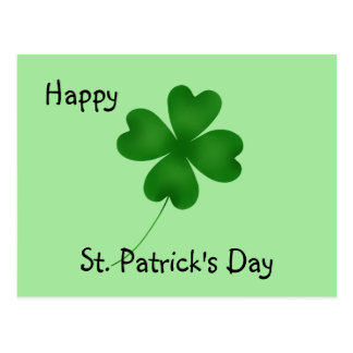 4 leaf clover, Happy St. Patrick's Day Postcard