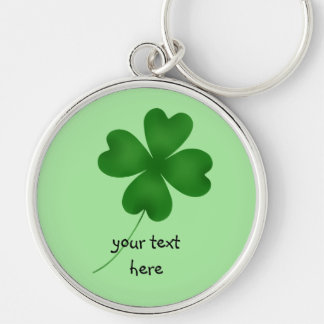 4 leaf clover Silver-Colored round key ring
