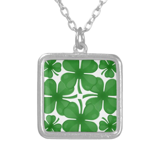 4 leaf clover silver plated necklace