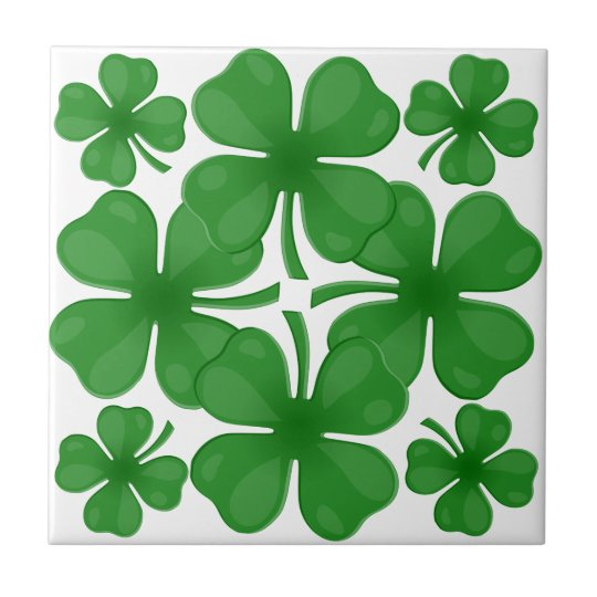 4 leaf clover small square tile