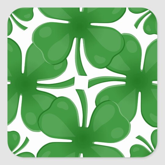 4 leaf clover square sticker