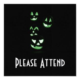 4 Lit Jack-O-Lanterns - Green 13 Cm X 13 Cm Square Invitation Card