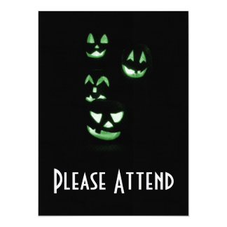 4 Lit Jack-O-Lanterns - Green 14 Cm X 19 Cm Invitation Card
