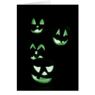 4 Lit Jack-O-Lanterns - Green Cards