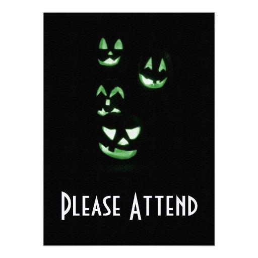 4 Lit Jack-O-Lanterns - Green Personalized Announcement