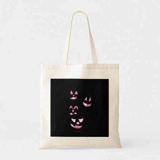 4 Lit Jack-O-Lanterns - Pink Tote Bags