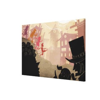 4 Little Monsters - Walking Through Town Gallery Wrapped Canvas