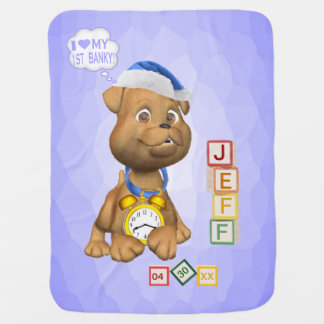 4 Ltr Name Version Puppy Design Customizable Banky Baby Blanket