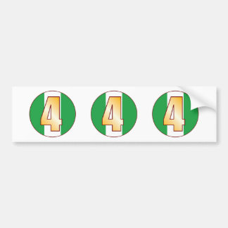 4 NIGERIA Gold Bumper Sticker
