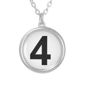 4 - number four silver plated necklace
