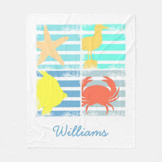 4 Ocean Design Squares Fleece Blanket