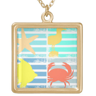 4 Ocean Design Squares Gold Plated Necklace