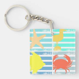 4 Ocean Design Squares Key Ring