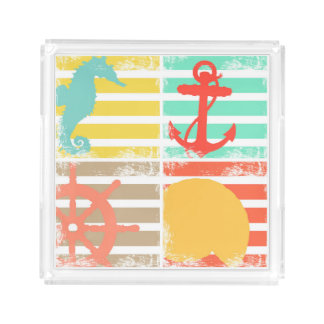 4 Ocean Design Squares with Stripes Acrylic Tray