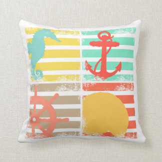 4 Ocean Design Squares with Stripes Cushion