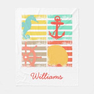 4 Ocean Design Squares with Stripes Fleece Blanket