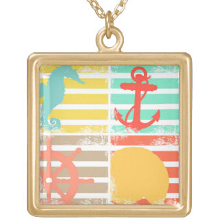 4 Ocean Design Squares with Stripes Gold Plated Necklace