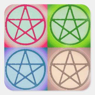 4 pentagrams square sticker