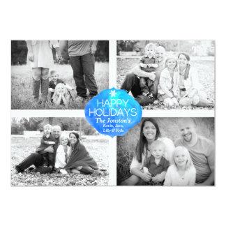4 Photo Christmas Card - Happy Holidays 13 Cm X 18 Cm Invitation Card