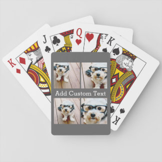 4 Photo Collage - Choose YOUR BACKGROUND COLOR Playing Cards