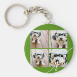 4 Photo Instagram Collage with Holiday Joy Green Key Chain