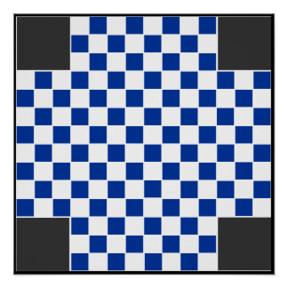 """4 Player - Checkers ~TAG~ Board (~1"""" Magnets) Poster"""
