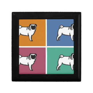 4 Pugs Small Square Gift Box