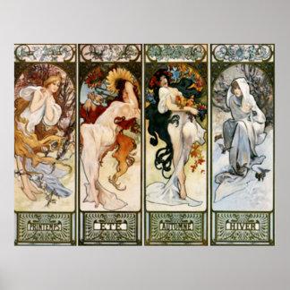4 Seasons Alphonse Mucha Print